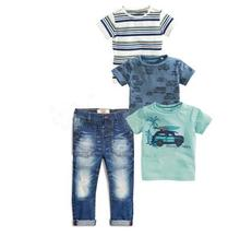 TZ460 Retail 2017 new summer children's clothing boys clothes 4 pcs. Short-sleeved T-shirt boy car four-shirts jeans suit