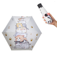 cute cat children automatic folding umbrella anti uv cartoon gift pastoral TTK waterproof sun umbrella rain women parasol female(China)