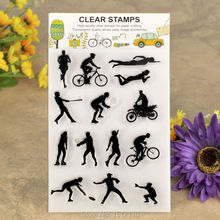 Sports Events Swim Run Volleyball Scrapbook DIY photo cards account rubber stamp clear stamp transparent stamp 11x16cm KW610148(China)