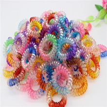 10pcs/lot Women Elastic Hair Rope Sweet Colorful Telephone Wire Line Hairband Styliing Hair Rings Accessories
