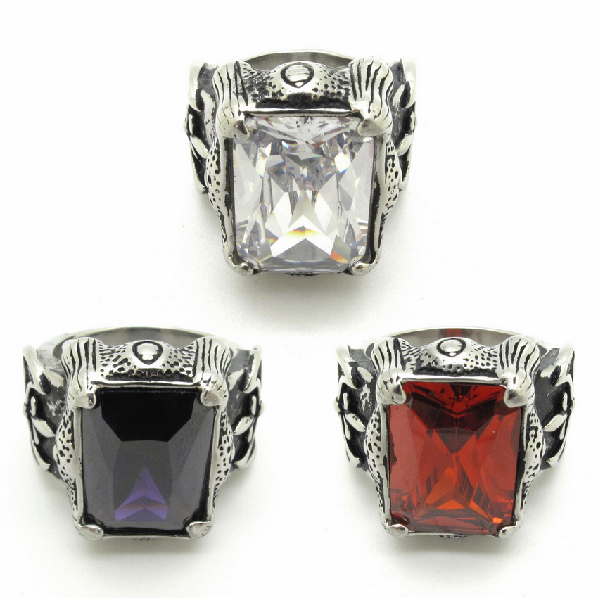 Hot! High Quality Fashion Style Red Purple White Stone CZ Mens Vintage Retro Fleur De Lis Stainless Steel Ring(China (Mainland))
