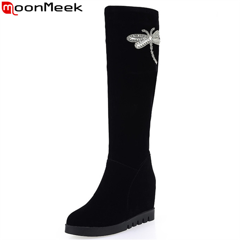 MoonMeek fashion black flock women boots new arrive height increasing round toe knee high boots crystal elegan solid color<br>