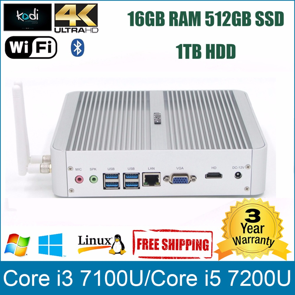 Mini PC Fanless i5 7200U i3 7100U HYSTOU FMP03 Intel Kaby Lake Minicomputer Alloy Case USB 3.0 Bluetooth Mini PC Windows 10 i5(China (Mainland))