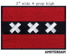 "Amsterdam,Netherlands Flag embroidery patch 3"" wide shipping/Black red and white/applique patch/iron fist"