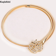 Skinny Clasp Rhinestone Apple Designer Schoolgirl Belts Metal Belt Stretch Waist Strap Waistband Elastic Band for Ladies Dresses(China)