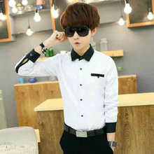 Young Men Long Sleeve Shirts Junior Middle School Students Wears Kids White Black Dress Shirt 11-20 Years Big Boy Autumn Outfit