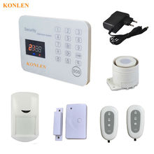SMS Call Alert GSM Alarm Home Security System LCD Wireless Wire Android IOS Control for House Alarma with Voice Touch Keypad(Hong Kong)