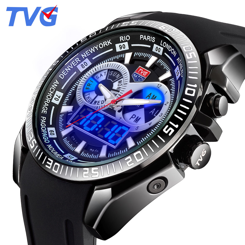 2016 Male Watches Luxury Top Brand TVG New Black Silicone Best designer Men Quartz Watch Dual Display LED Wristwatches relojes<br><br>Aliexpress
