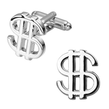 Fashion jewelry silver dollar men cufflinks French shirt sleeve cuff links(China)