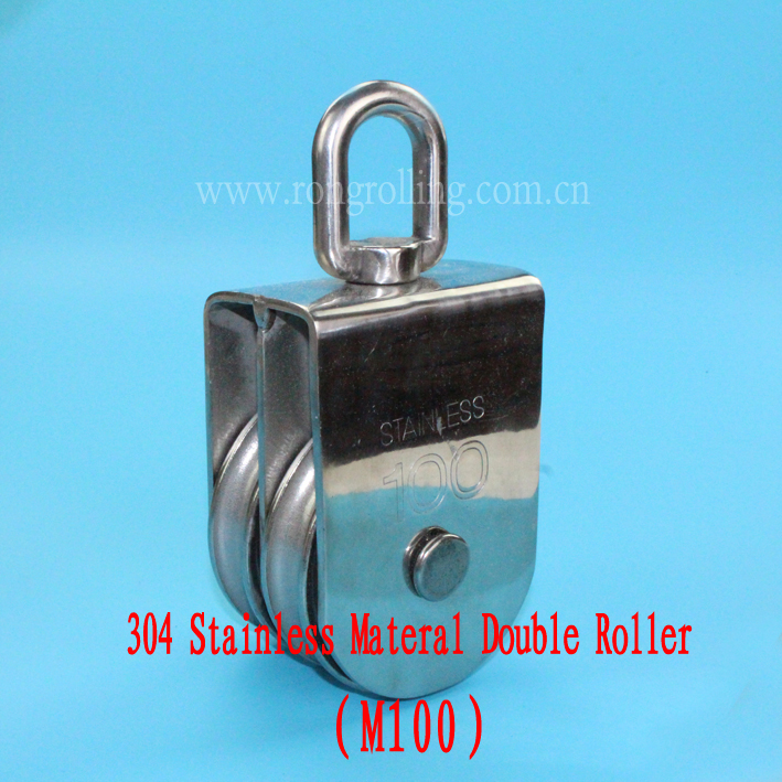 304 Stainless Materal Rope Double Pulley Capacity 1000kg M100<br>
