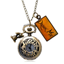 New Vintage Drink Me Alice In Wonderland Pocket Watch Necklace Watch With Rabbit