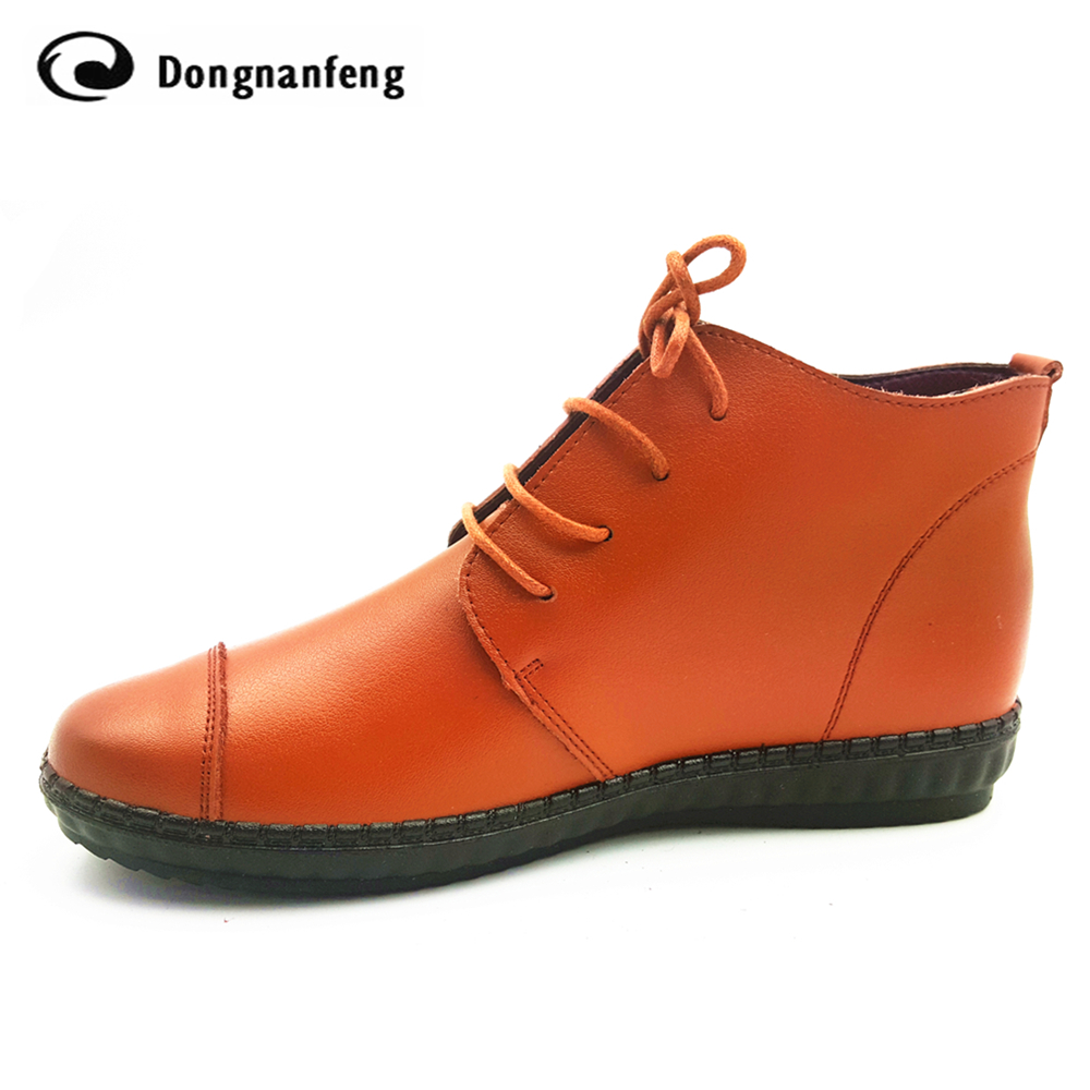 Oxford Flats Ankle Womens Boots Shoes Woman Female Fashion Lace Up Genuine Leather Rubber Soles Superstar Casual Beand DNF-953<br><br>Aliexpress