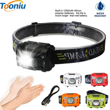 CREE 5W LED Body Motion Sensor Headlamp Mini Headlight Rechargeable Outdoor Camping Flashlight Head Torch Lamp With USB Charging(China)