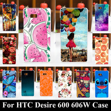 Case For HTC Desire 600 606W Colorful Printing Drawing Transparent Plastic Phone Cover For HTC Desire 600 606W Hard Phone Cases(China)