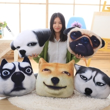50CM Hot 3D Creative Funny Dog Plush Dog Head Shape Toy Soft Huskies Pillow Cushion Doll Children Gift