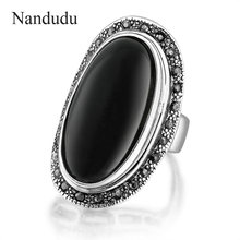 Nandudu Vintage Black Stone Ring Tiny Crystals Punk Celebrity Style Rings Fashion Jewelry Gift R1656