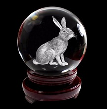 Chinese Zodiac Signs Crystal Ball 3D Laser Engraved Rooster Dog Rabbit Mouse K9 Crystal Glass Ball with Wooden Stand 80mm