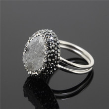 1PC 925Sliver Stearling Women Finger Ring,Paved Rhinestone Beads Stone Druzy Geode Ring,Clear Crystal Drusy onyx Ring
