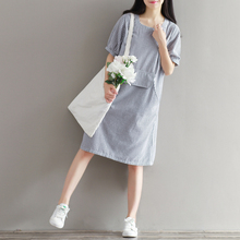 2016 Summer New  Fan Art Vintage Cotton And Linen Loose Stripe Dress Short Sleeves Short Sleeves Knee High Women Dresses