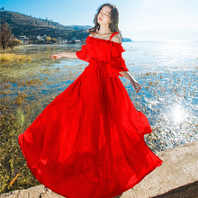 Runway Designer Off the Shoulder Holiday Beach Dress Red Chiffon Elegant Summer Sexy Long Full Maxi Dress for Women Bridal Party