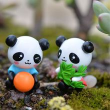 4Pcs/Lot PVC Mini Cartoon Panda Figurines Micro Landscaping Decor For Garden DIY Craft Terrarium Accessories P10