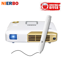 NIERBO 4K Projector Interactive Portable Projector Full 3D School Android Wifi Office Education with 15000mah Battery 500 Ansi(China)