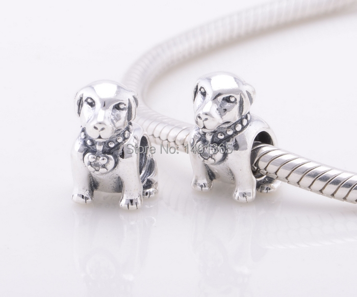 100% 925 Sterling Silver Screw Core Labrador Dog Charm Bead Fits All European Charms Bracelets Necklaces & Pendants LW388(China (Mainland))