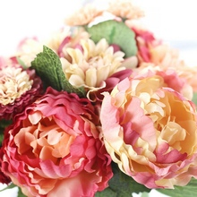 Silk Flower Bouquet Roses Dahlias Artificial Flowers Fall Vivid Fake Leaf Party Flower