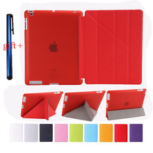 Good TPU Flexible Silicone Soft Back Cover For Apple Ipad 3 2 4 + Smart PU Leather Front Case Auto Sleep + Stylus Pen Gift