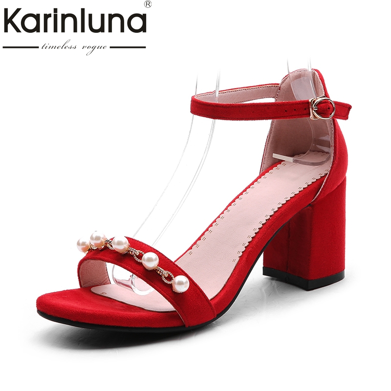 Karinluna 2018 Fashion Large Size 32-48 Women Shoes high-heeled Buckle Strap Round Toe Shoes Woman Girls Sandals Fashion Shoe<br>