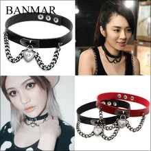 BANMAR 15 Colors New Arrival Punk Collar Choker Necklace Harajuku PU Leather Heart Chain Choker Punk Goth Handmade Neck Jewelry