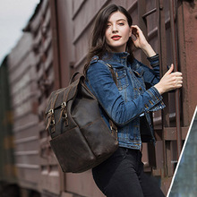 Men Crazy Horse Genuine Leather Backpack Casual Large Capacity Daypacks Vintage Buckle Travel Weekend Tote Bag Backpack 8110(China)