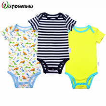 3PCS/LOT Newborn Baby Boy Girl Clothes Baby Bodysuits Blue /Pink Short Sleeve Cotton Baby Boy Clothing Baby Jumpsuit Shower Gift(China)
