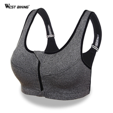 WEST BIKING Women Sport Bra Running Front Zipper Moverment Bra Yoga Padded Fitness Tops Tank Cycling Workout Sport Bra 3 Sizes(China)