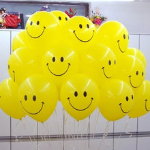 10pcs/lot 12inch Yellow Smiley Face Latex Balloons Air Balls Inflatable Wedding Party Decoration Birthday Party Float Balloons