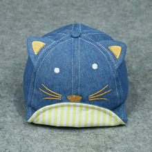 2018 Soft Edge Cowboy Hat New Baby Summer Hat Letter Baseball Hat For Kids Cotton Little Cat Modeling Adjustable Hats Wholesale(China)