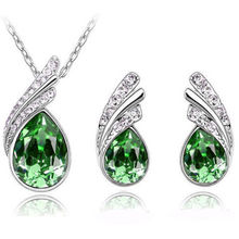 Fashion Women Wedding Silver Jewelry Set Crystal Earring Necklace Pendant Rhinestone New Suit Ear Stud 2017 Hot Sale Waterdrop