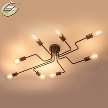 Retro Creative Metal Flush Mount 4/6/8-Light Cafe Bar Ceiling Lamp Chandelier Lighting Fixure(China)
