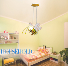 Wholesale E27 LED Children Eye Protection Droplight Cute Cartoon Yellow Honey Bee Pendant Suspension Light Fixture for Kids(China)