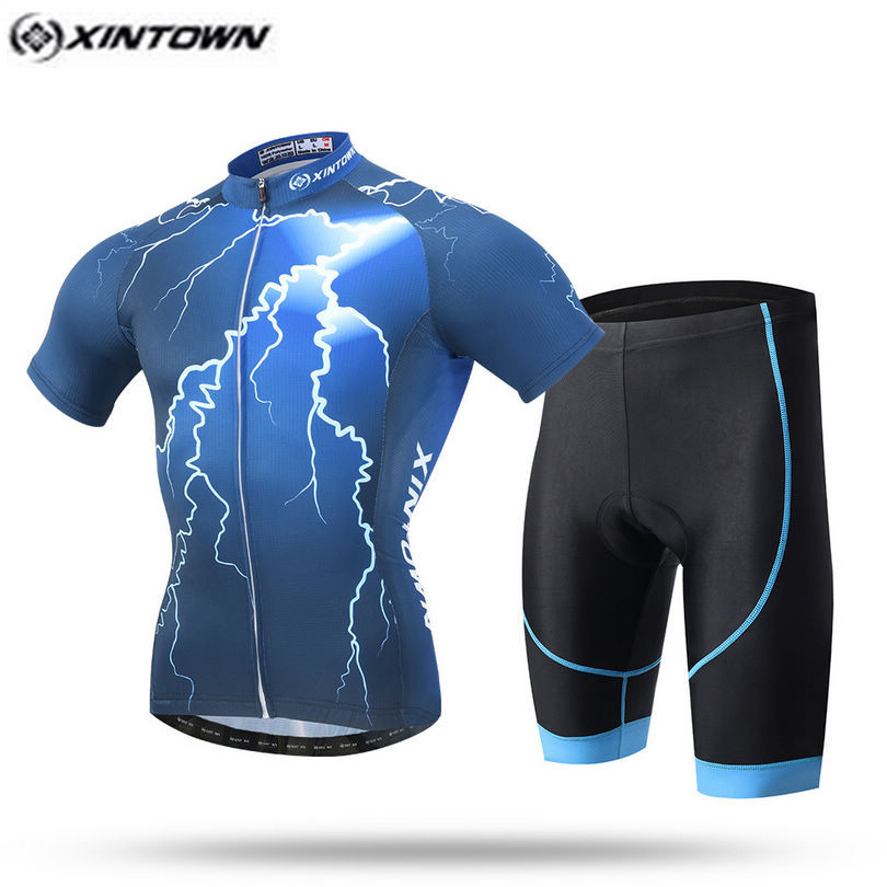 XINTOWN Pro Bike Jersey Bib Shorts Sets Men mtb Bicycle Clothing Suits Deep Blue Summer Male Ropa Ciclismo Cycling Shirts<br>