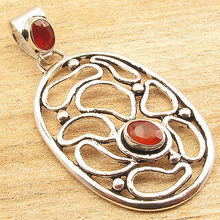 Silver Plated MADE IN INDIA Jewelry ! Natural CARNELIAN 2 Stone Pendant 2 ""