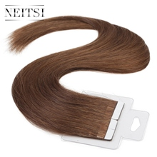 "Neitsi 5A Tape In Human Hair Extensions Adhesive Skin Weft Hair 16""20""22""8# 100% Raw Euro Virgin Remy Tape Hair Straight Pieces"