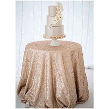 New Arrival Sparkly 90inch Champagne/Silver/Gold Sequin Tablecloth Wedding Sequin Table Cloth for Wedding/Party/Birthday Decor-a(China)