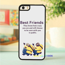 minions best friends quotes cell phone case cover for iphone 4 4s 5 5s 5c SE 6 6s & 6 plus 6s plus 7 7 plus #6578an