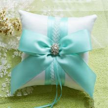 1pcs/lot Church wedding pink tiffanyblue Square Beige Ring pillow Ribbon silk bow for wedding decoration proposal supply