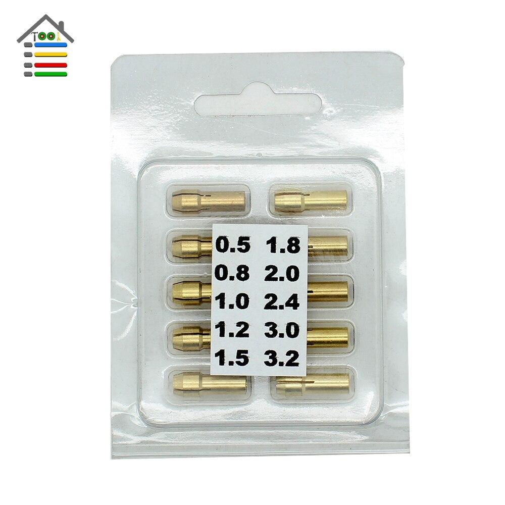 New 10pc Brass Grinder Chuck Collet Bits 0.5-3.2mm 4.3mm Shank Rotary Tool for Dremel Grinder Flex shaft<br><br>Aliexpress