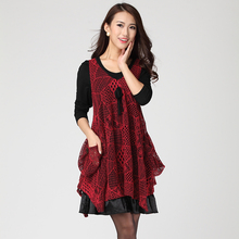 Big size clothing autumn and winter twinset one-piece dress 2013 autumn new arrival winter dresses(China)