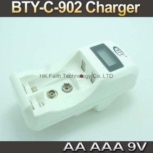 US EU Charger LCD Fast Quick Speed Smart Charger for AA AAA 9V Ni-Cd Ni-Mh Rechargeable Battery BTY C-902