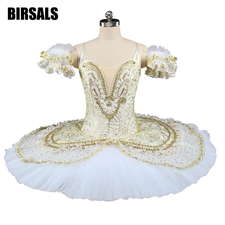 Adult Gold White Queen Performance Pancke Professional Ballet Tutu Women Sleeping Beauty Ballerina Classical BT9143A