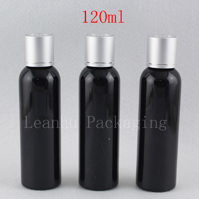 120lm black bottle with silver disc top cap (1)